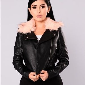 Fashion Nova Leather and Fur Jacket